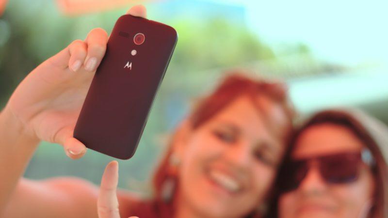 Two Ladies Taking Selfie with Phone