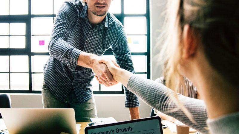 Marketing Career People in Meeting Shaking Hands