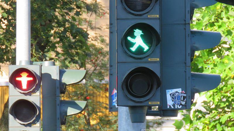 Street Walk Sign with Green Walk Light