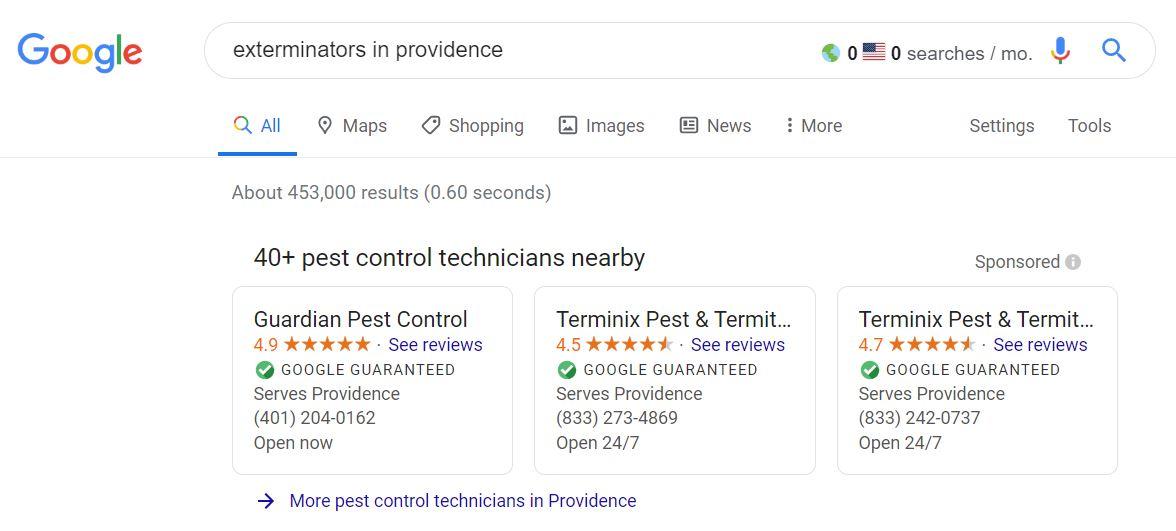 google-local-service-ads-exterminators-in-providence